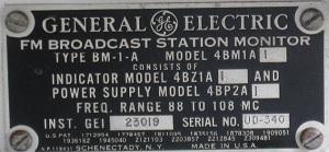 GE manufacturer plate