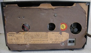 The back of the Stromberg-Carlson clock radio; not the AC outlet.