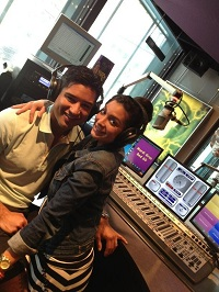 Mario Lopez and wife in Axia-powered studio.