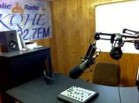 KQHE studio with Axia DESQ console.