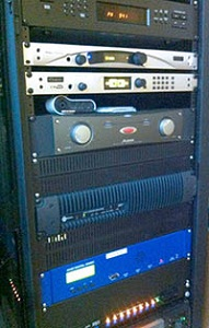 KQHE racks with Telos ProStream and Z/IP ONE, and Axia QOR.16.