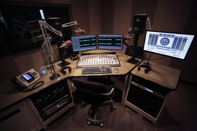 One of 8 on-air studios at CPR, featuring the Axia Fusion console and Telos Vset phone