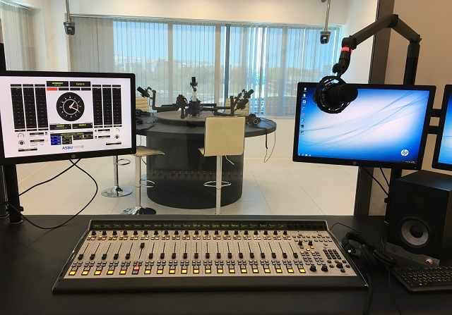 ASBU training facility studio featuring Axia Fusion console