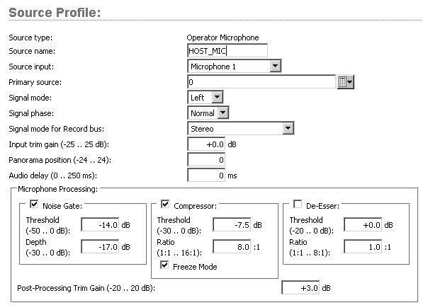 QOR Microphone Source profile screen