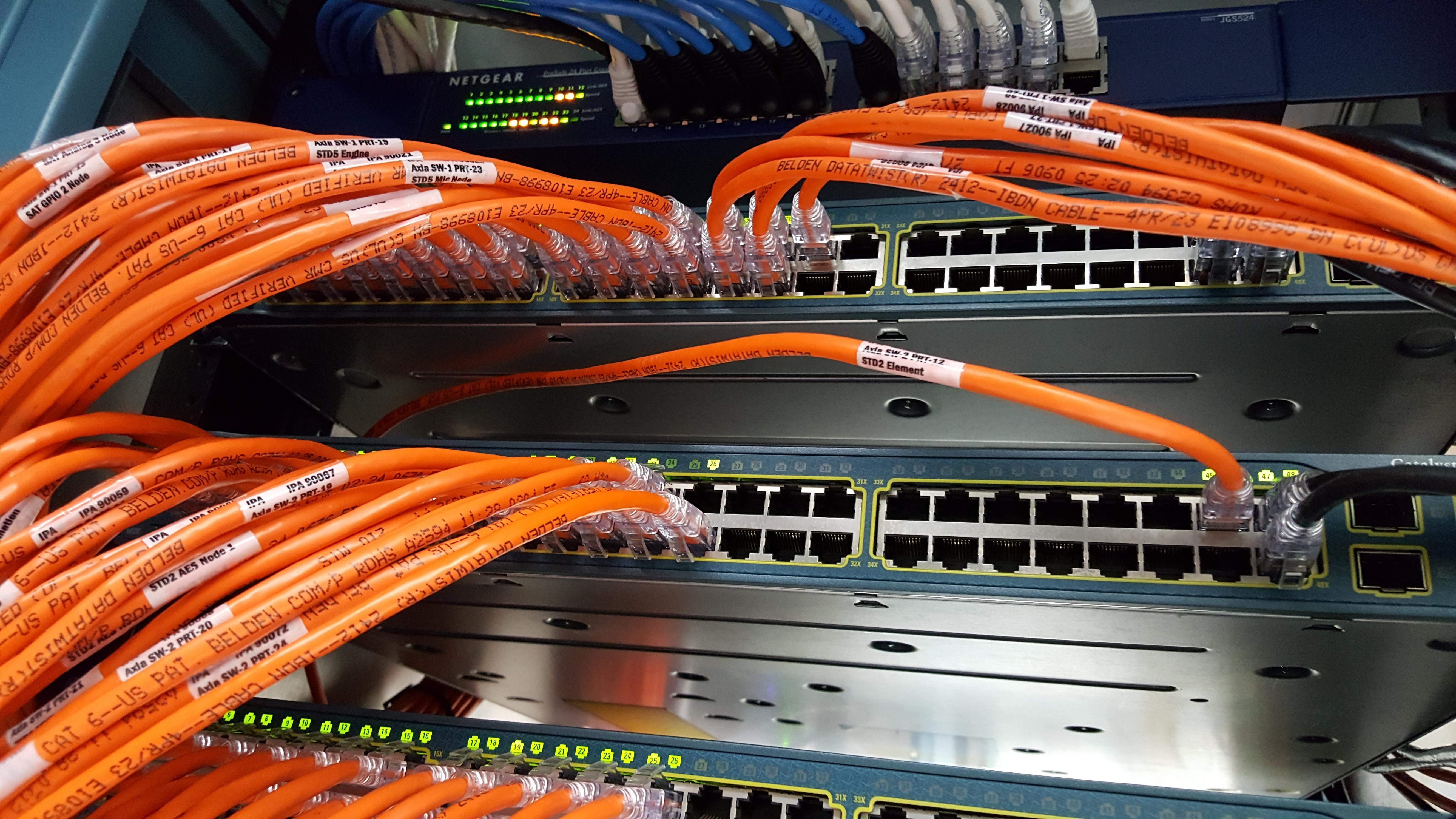 Ethernet cabling on Cisco Ethernet switch at E.W. Scripps Tucson