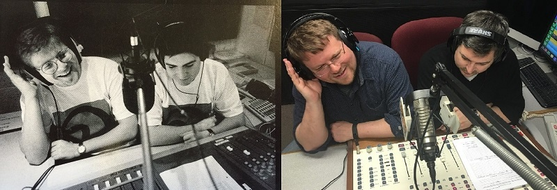 Rob Quicke and Damian Radcliffe recreate a picture they took in 1996 at the launch of Oxygen Radio at Oxford University.