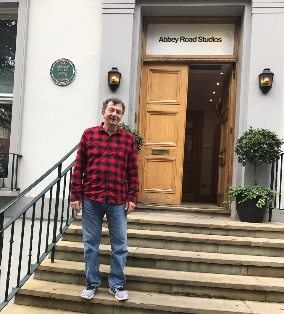 Frank on the steps of Abbey Road Studios