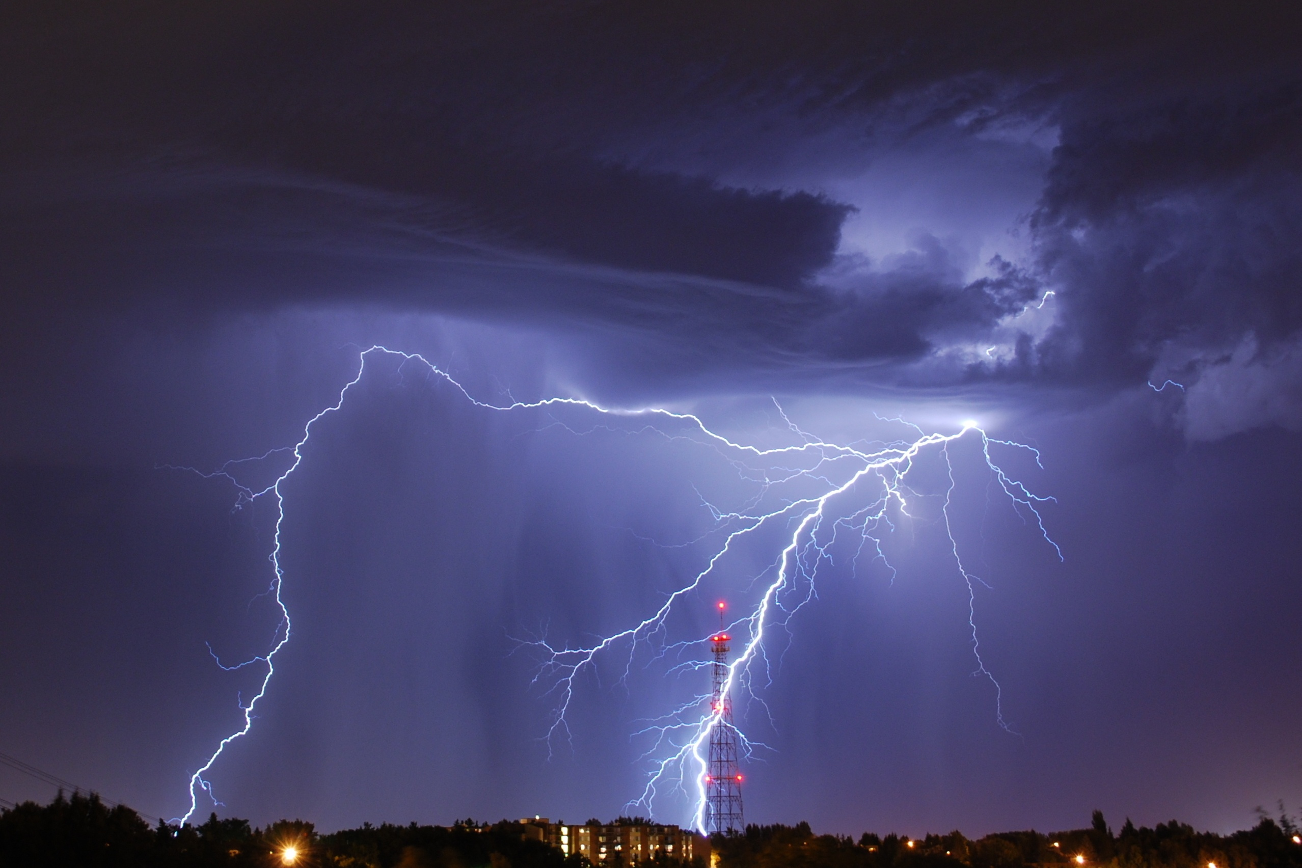 Lightning strike near radio tower