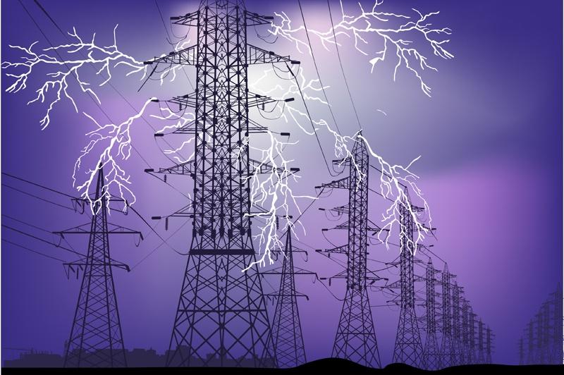 Lightning strike near telephone lines