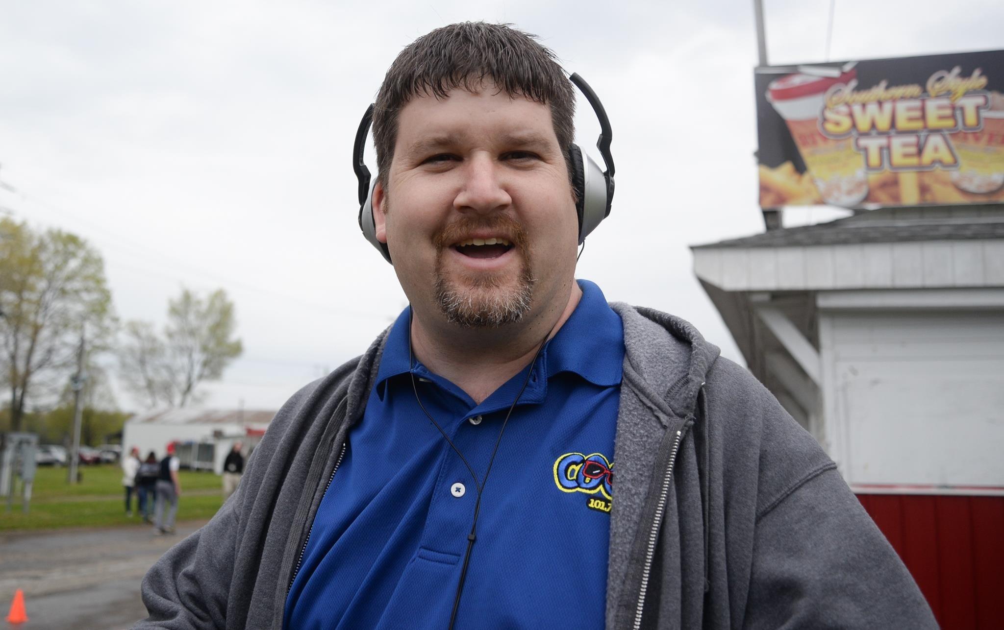 Joe Vilkie on a live remote broadcast