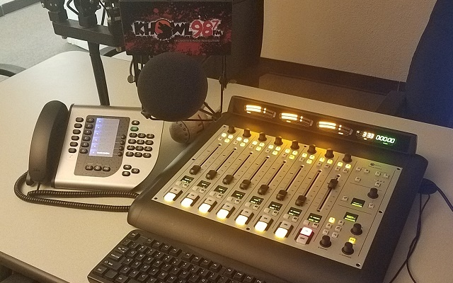 KHOWL Studio featuring Axia Radius console and Telos VX phone