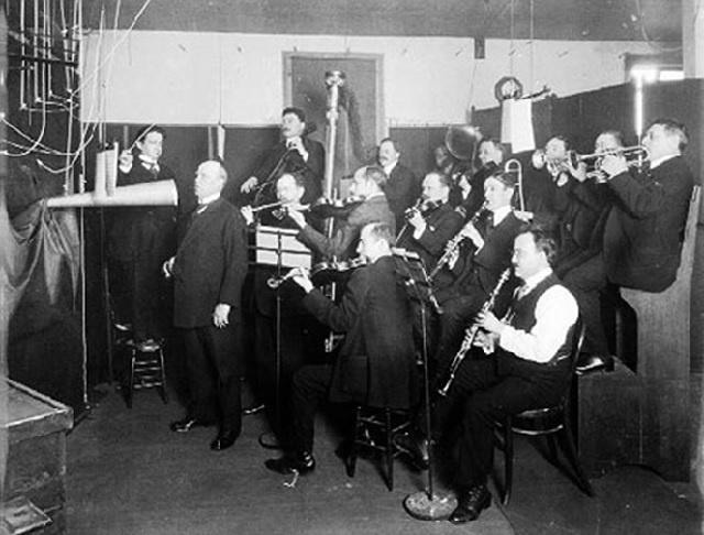 Acoustic recording session circa 1920