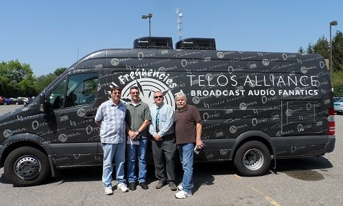Dave with iHeart Detroit engineers happy to see the van