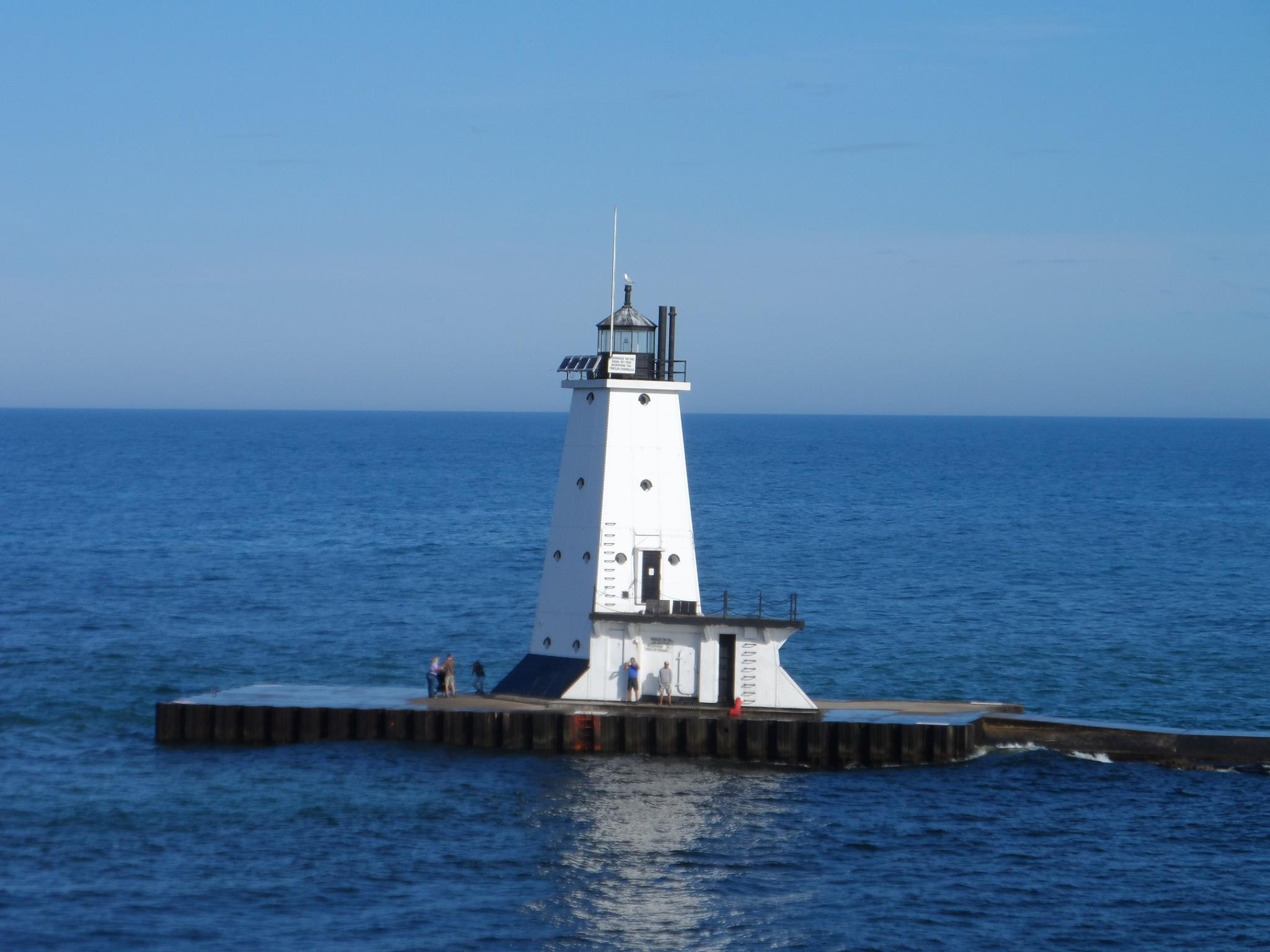 Lighthouse as seen from the ferry SS Badger, crossing Lake Michigan from Michigan to Wisconsin