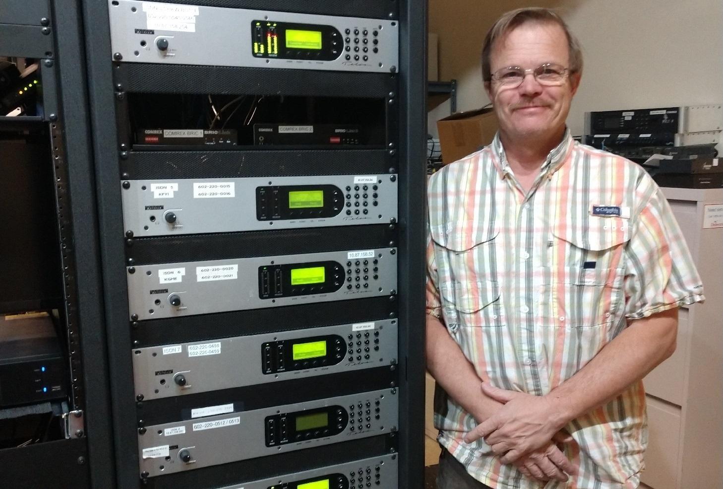 Scot McDougal with a rack of Telos Zephyrs at iHeart Phoenix