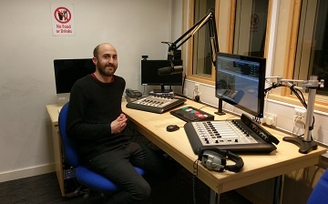 Jack Higgins in the Tone Radio studio with Axia iQ consoles