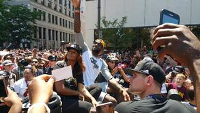 LeBron James waves to the crowd