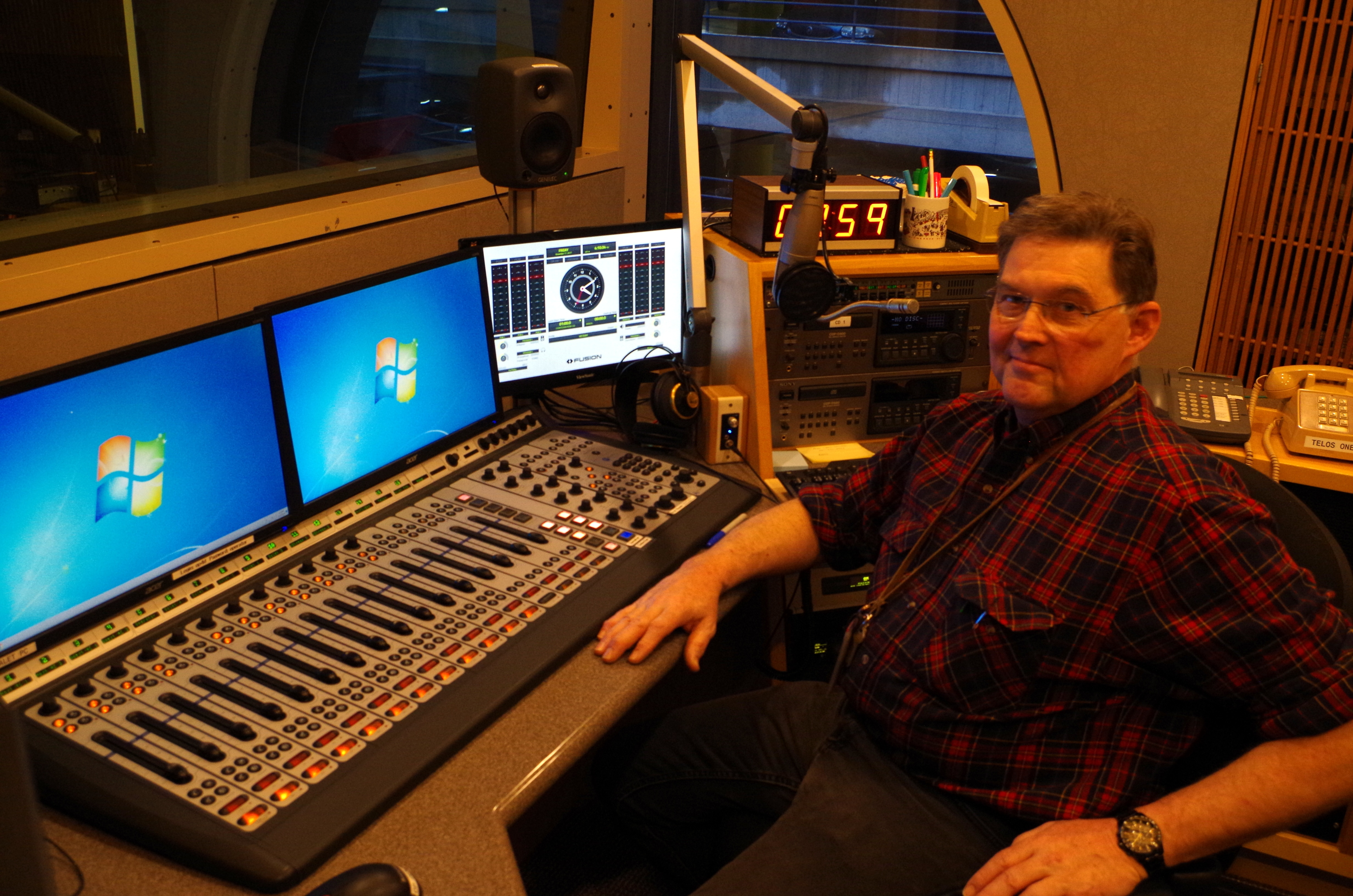 Bill with the tried and true Axia Element console—the only one that will remain in the facility.