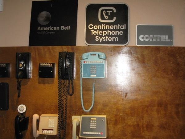 Phone company signs and other memorabilia