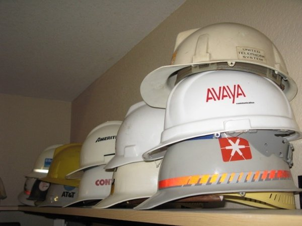 Hard hats from various phone installations