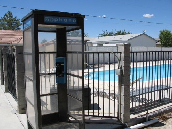 Poolside phone booth
