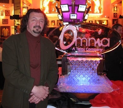 Frank in Vegas with Omnia Ice Sculpture