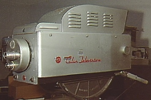 First NTSC color television camera (1953). The 'Color Television' script was a distinctive Vassos touch.