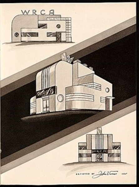Two of Vassos' transmitter building designs from the late 1930s