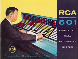 The Vassos color-coordinated control panel for RCA 501 computer (1958)