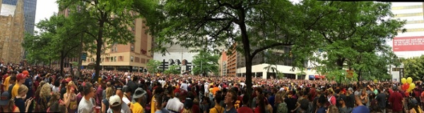 Panoramic view of parade route along East 9th & Rockwell