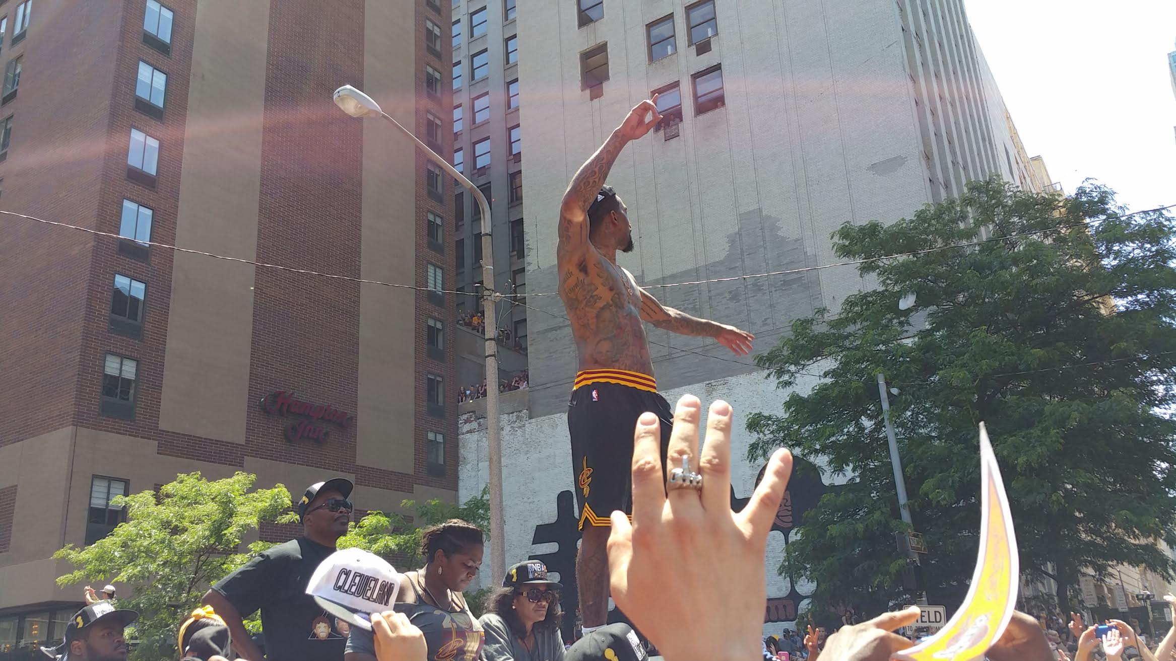 J.R. Smith waves to the fans