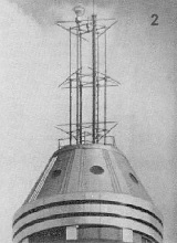1936 - An arrangement of poles and rods supported the three triangular antennas of the second structure to be built.