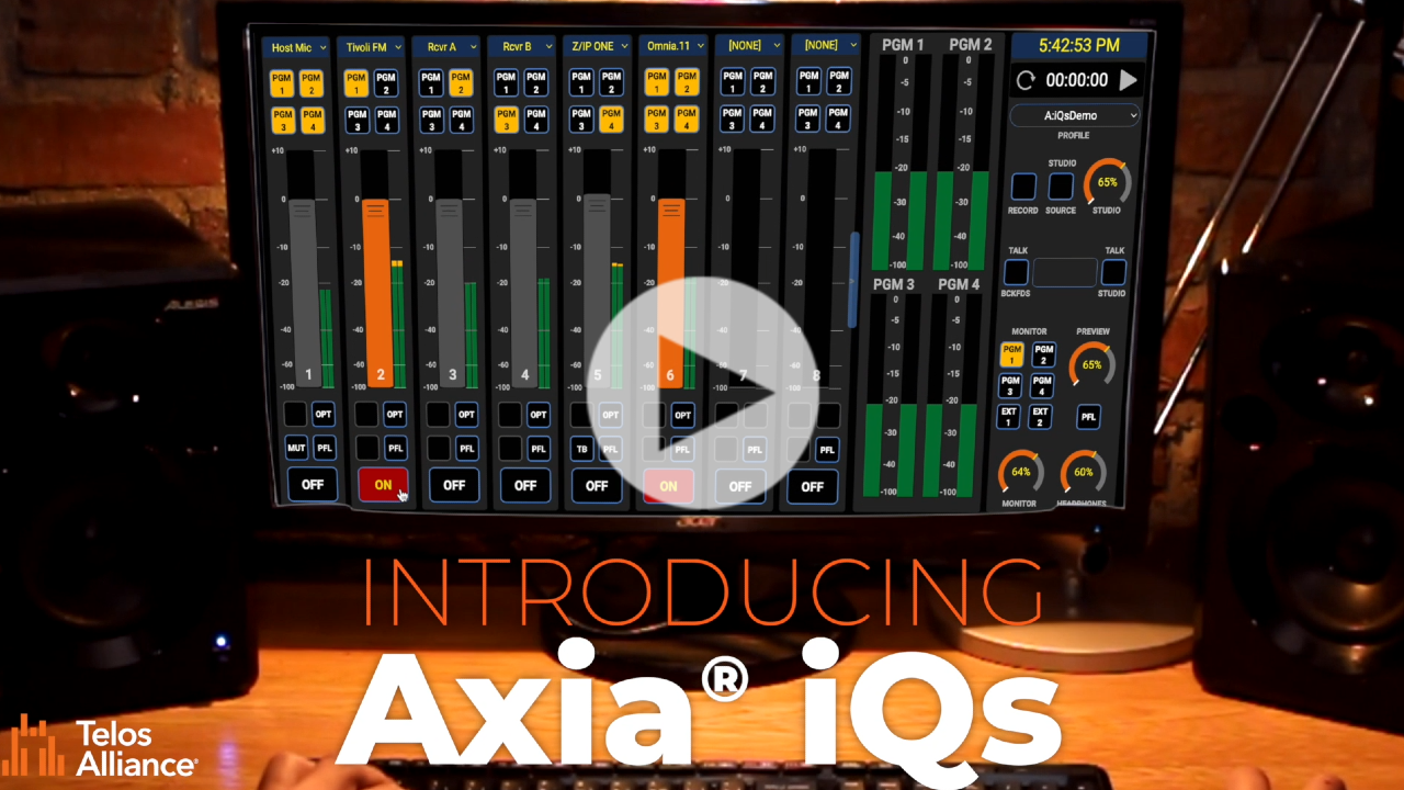 Video:Introducing Axia iQs AES67 Mixing Console Software